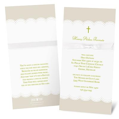 Scallops and Ribbon Baptism Invitations