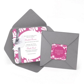 Floral Border -- Bat Mitzvah Party Invitations