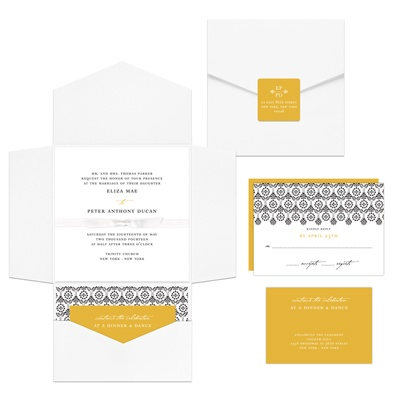 Ribbon Seal Ensemble Pocket Wedding Invitations