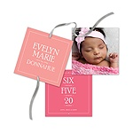 Contemporary Blessing Ribbon Strand -- Baby Girl Announcements