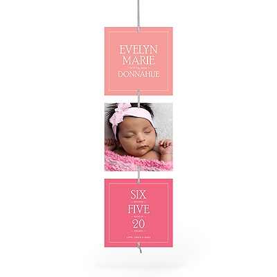 Contemporary Blessing Girl Ribbon Strand Birth Announcements