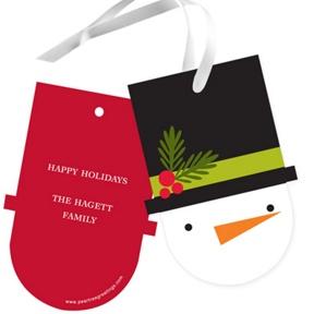 Shaped Snowman -- Christmas Gift Tags