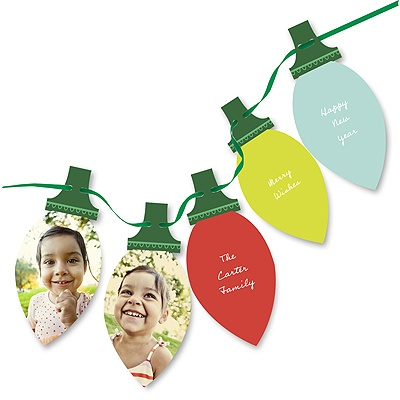 Colorful String of Lights -- Custom Photo Christmas Cards