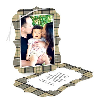 Plaid Photo Frame -- Holiday Ornament Cards