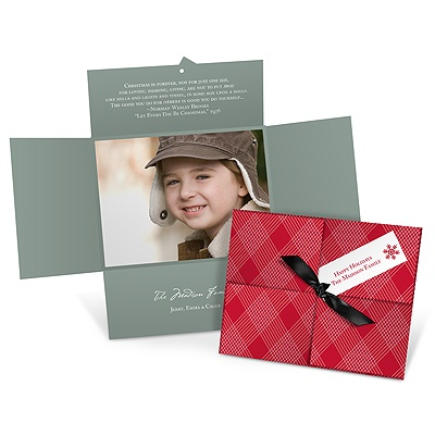 Wrapped in Plaid Horizontal Photo Photo Christmas Cards