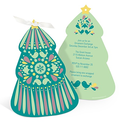 Folk Art Christmas Tree in Green Holiday Party Invitations