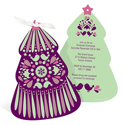 Folk Art Christmas Tree in Purple Holiday Party Invitations