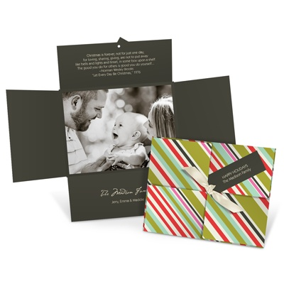 Tagged and Striped Photo Christmas Cards
