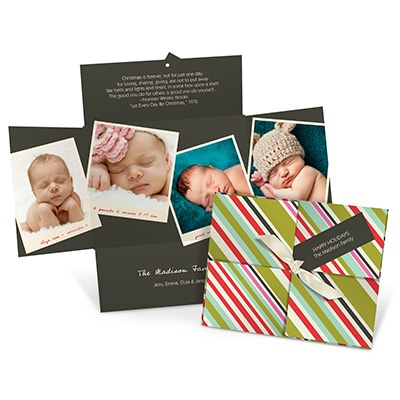 Tagged and Striped Collage Photo Christmas Cards
