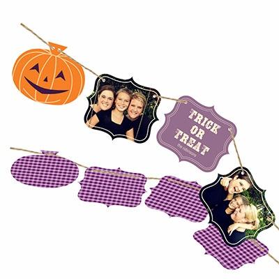 Pumpkin Ribbon Strand Halloween Photo Cards