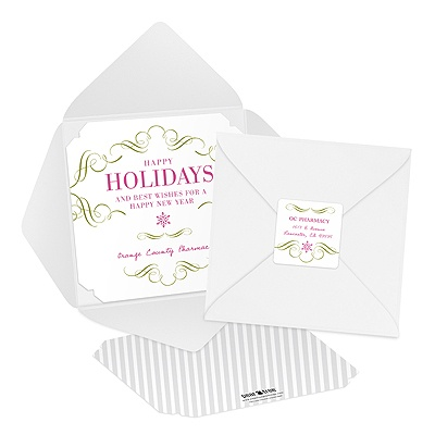 Elegant Pewter Pocket Custom Business Christmas Cards