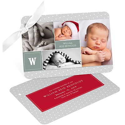 Snowy Holiday Collage Birth Announcements