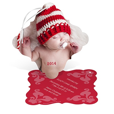 Precious Holiday Ornament Baby Announcements
