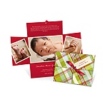 Wrapped Collage in Plaid -- Birth Announcement Christmas Cards