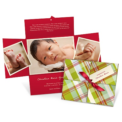Wrapped Holiday Collage in Plaid Birth Announcement