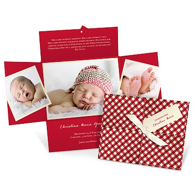 Wrapped Holiday Collage in Gingham Birth Announcements