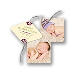 Memorable Ribbon Strand -- Christmas Photo Birth Announcements