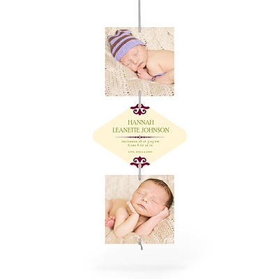 First Christmas Ribbon Strand Birth Announcements