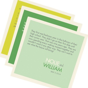 Color Block Text Set of 3 -- Printed Wedding Napkins