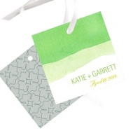 Vivid Green Watercolor Wedding Favor Tags