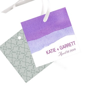 Vivid Purple Watercolor -- Wedding Favor Tags