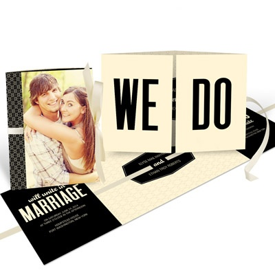 Tied Up In Love -- Unique Photo Wedding Invitations