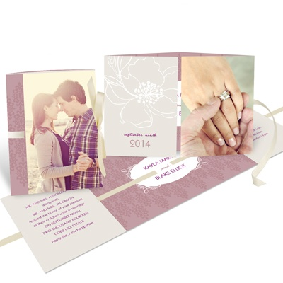 Fairy Tale Floral Ribbon Wedding Invitations