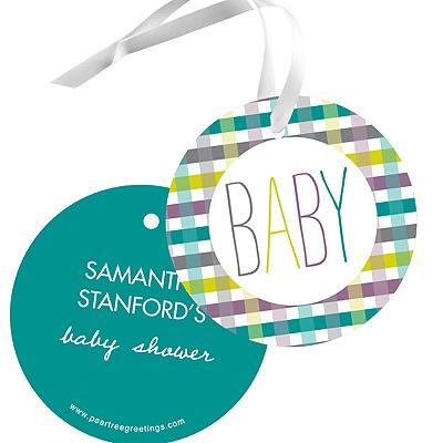 Precious Plaid Baby Shower Favor Tags