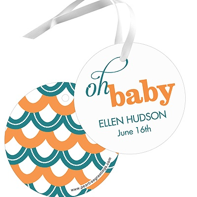 Sweetly Strung Scallops Baby Shower Favor Tags