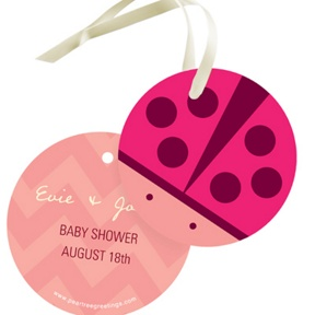 Chevron Lovebug -- Baby Shower Favor Tags