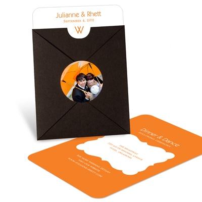 Modern Monogram Pocket Wedding Invitations