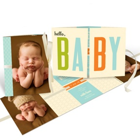 Baby Boy Ribbon Booklet -- Birth Announcements