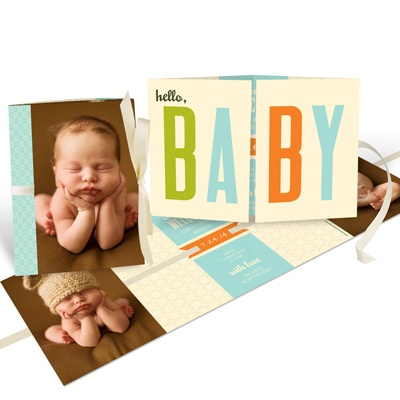 Baby Boy Ribbon Booklet Birth Announcements