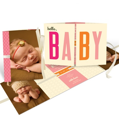 Baby Girl Ribbon Booklet Birth Announcements