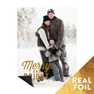 Merry & Bright Gold Foil Magnet Christmas Cards