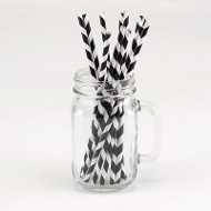 Black Striped Paper Straws Graduation Party Decorations