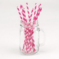 Pink Striped Paper Straws Graduation Party Decorations