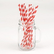 Red Striped Paper Straws Graduation Party Decorations