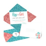 Balloons Bursting with Surprise -- Gender Reveal Baby Shower Invitatio