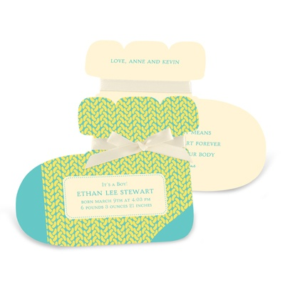 Sweet Feet in Yellow -- Boy Birth Announcements