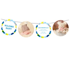 Colorful Celebration in Blue -- Birth Announcements
