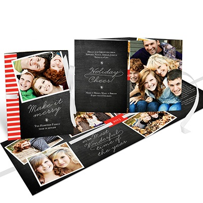 Flowing Holiday Cheer Ribbon Booklet Photo Christmas Cards