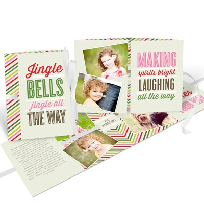 Blissful Bells Ribbon Booklet Photo Christmas Cards