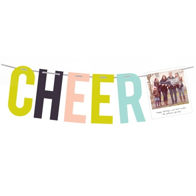 Modern Cheer Green Photo Christmas Cards