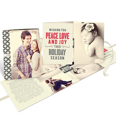 Read All About It Ribbon Booklet Photo Christmas Cards