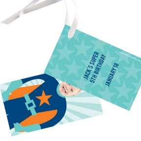 Picture Me Blue Superhero -- Gift Tags
