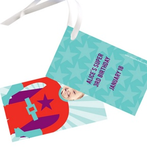 Picture Me Red Superhero -- Gift Tags