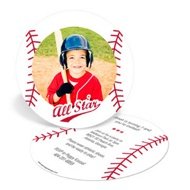 Baseball All Star Kids Birthday Invitations