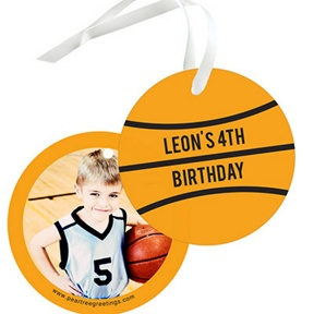 B-Ball Photo -- Kids Birthday Favor Tags