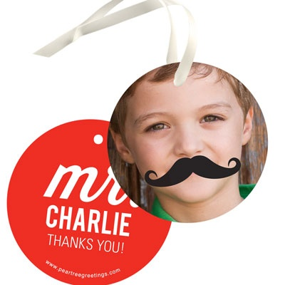 Mr. Mustache Kids Birthday Favor Tags